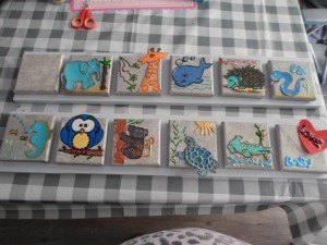 schilderijtje voor de kinderkamer tijdens babyshower gemaakt
